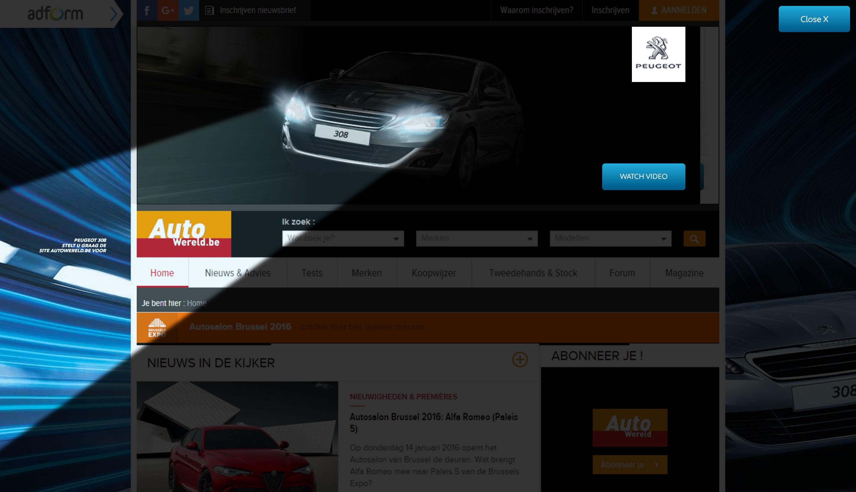 Peugeot 308 advertising - AutoWereld